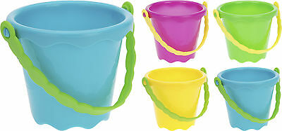 3 Quality Beach Buckets Garden Sand Pit Toy Summer Toys Seaside Pool Water Fun • 6.49£