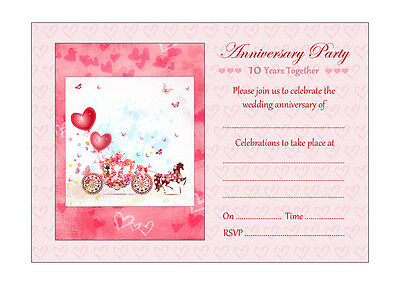 Horse And Carriage Weddingi Anniversary Invitations, Pink Envelopes - Pack Of 20 • 6.99£