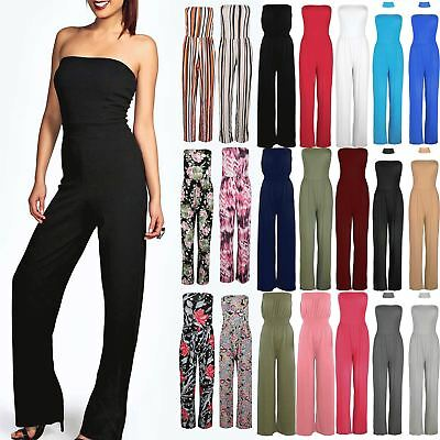 Women Ladies All In One Piece Casual Boobtube Wide Leg Palazzo Playsuit Jumpsuit • 8.49£