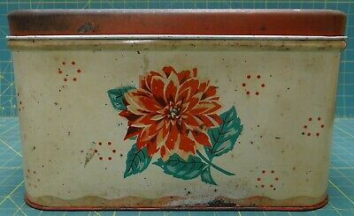 $25 • Buy Large Rectangle Tin Bread Box With Air Holes And Flower On Front 14  X 10  X 8