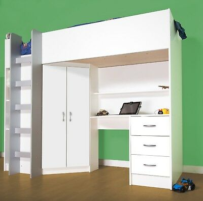 £399 • Buy Cambridge Cabin Bed High Sleeper White With Large Desk And Wardrobe R243W