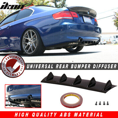 $15.99 • Buy 23  X 6  Ikon Style Universal Rear Bumper Lip Diffuser 5 Fin Gloss Black ABS