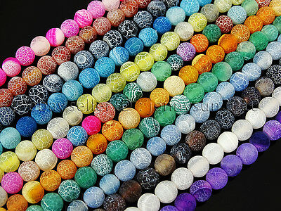 $ CDN4.45 • Buy Colorful Matte Fire Crackle Agate Gemstones Round Beads 15  4mm 6mm 8mm 10mm