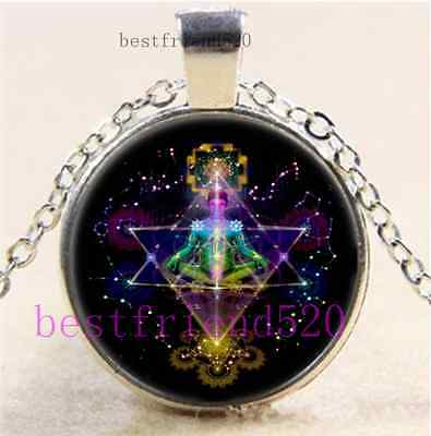 Merkabah Sacred Geometry Cabochon Glass Tibet Silver Chain Pendant Necklace • 1.86£