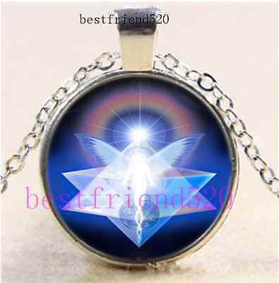 Merkabah Angel Photo Cabochon Glass Silver Chain Pendant Necklace • 1.86£