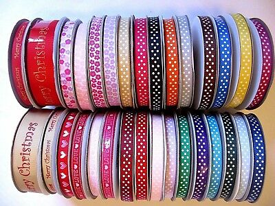 £2.25 • Buy Patterned Grosgrain Ribbon 10mm 25mm Craft Sewing Scrapbooking - Lots Of Colours