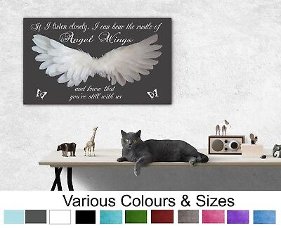 Angel Wings Picture Wall Hanging IF I Listen Closely Quote Canvas Prints 047 • 13.99£