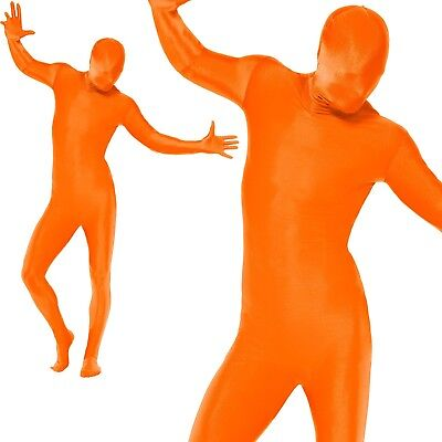 Mens Second Skin Orange Bodysuit Lycra Fancy Dress Party Costume Outfit M,L • 13.99£