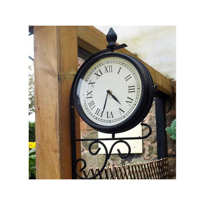 £17.99 • Buy New Outdoor Railway Garden Vintage Roman Numeral Traditional Station Wall Clock