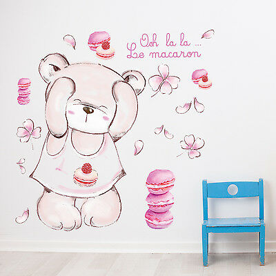 Macaron Bear Wall Stickers For Kids Children Bedroom Decal Decorations UK Seller • 6.29£