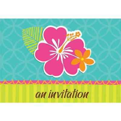 Luau Hibiscus Tropical Flower Hawaiian Summer Birthday Party Bulk Invitations • 18.06£