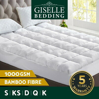 AU69.95 • Buy Giselle Bedding Bamboo Fibre Pillowtop Mattress Topper 1000GSM Cover All Size