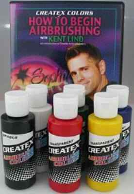 £18.83 • Buy Createx Primary 2 Oz Set Of 6 Colors With Kent Lind How To Begin Airbrushing DVD