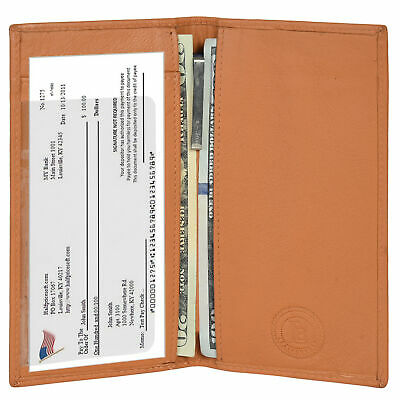$7.99 • Buy Leatherboss Genuine Leather Basic RFID Checkbook Cover With ID Slot, Tan