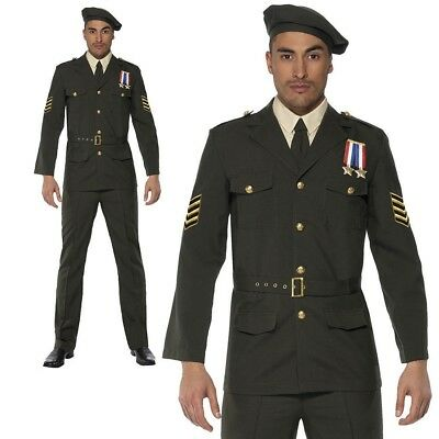 Adult Wartime Officer Costume Mens 40s WW2 Army Uniform Fancy Dress Outfit M L • 49.99£