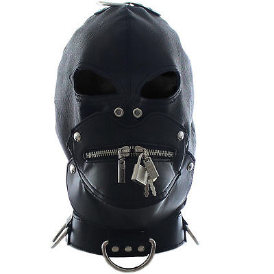 Leather Mask Eyes Collar And Detachable Zip Mouth Gag Inside • 11.99£