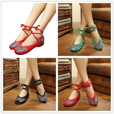£10.33 • Buy Fashion Ethnic Chinese Style Shallow Butterfly Bandage Ballet Single Shoes M