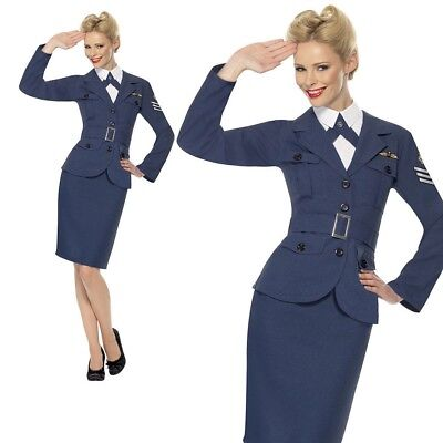 WW2 RAF Air Force Female Captain Costume Womens Wartime Fancy Dress Outfit New • 24.49£