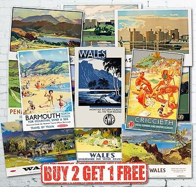 £3.75 • Buy Vintage Popular Welsh Wales British Travel Railway GWR LMS Posters A5/A4/A3/A2