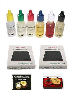 Jewelers-pawn-auction-testing Kit-gold-silver+loupe + More Test Pads • 15.28£
