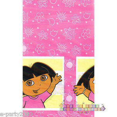 DORA THE EXPLORER Pink Flowers PLASTIC TABLE COVER ~ Birthday Party Supplies • 3.77£