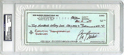 $160 • Buy Bob Barker SIGNED Check Host Of The Price Is Right PSA/DNA AUTOGRAPHED