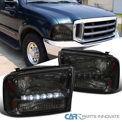 $110.95 • Buy For Ford 99-04 F250/F350 Superduty 00-04 Excursion Smoke 1PC Headlights+SMD LED