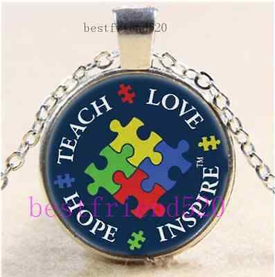 £1.85 • Buy Autism Awareness Cabochon Glass Tibet Silver Chain Pendant Necklace