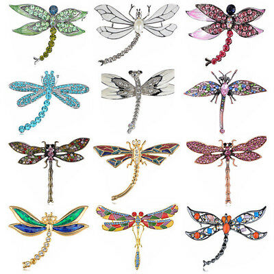 Vintage Rhinstone Crystal Dragonfly Pin Brooch Party Shoe Cake Decoration Gift • 4.93£