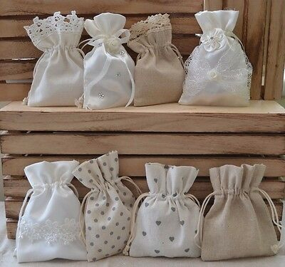 Pretty Satin Or Hessian Bags Wedding Favour Confetti Birthday Bridesmaid Gift  • 3.65£