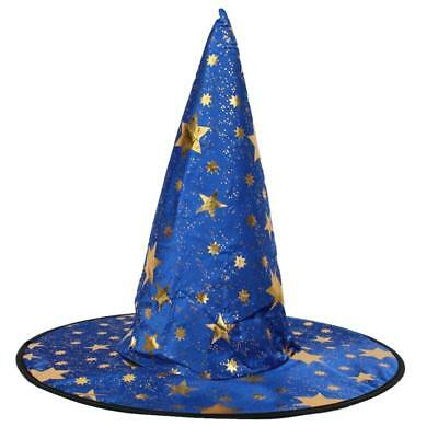 Wizard's Hat With Gold Stars Halloween Fancy Dress Costume Blue • 3.20£
