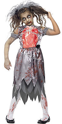 Zombie Corpse Bride Girls Kids Teen Smiffys Halloween Fancy Dress Costume 7-14 • 16.87£