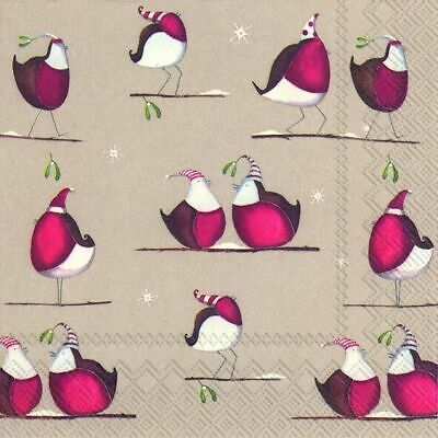 CRAZY RED ROBINS Linen Christmas Paper 33cm Square  Lunch Napkins 20 In A Pack • 4.74£