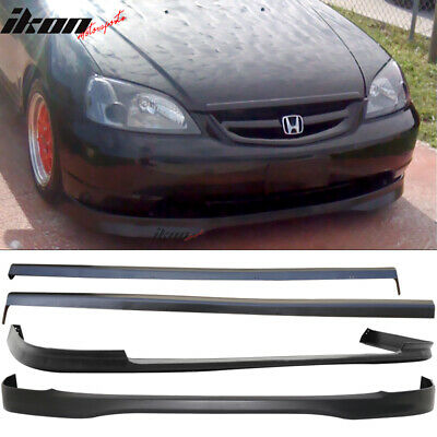 $286.99 • Buy Fits 01-03 Honda Civic PP Front + Rear Bumper Lip + Side Skirts