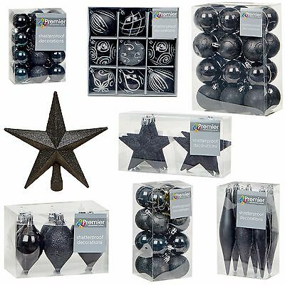 Black Collection Christmas Decorations Baubles Stars Cones Hearts Tree Topper • 6.49£