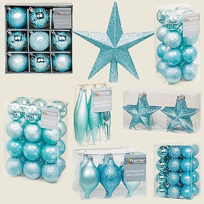 Ice Blue Collection Christmas Decorations Baubles Stars Cones Hearts Tree Topper • 6.49£