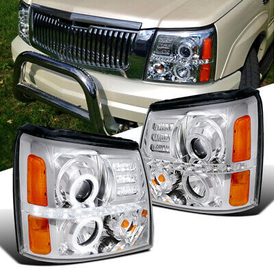 $215.95 • Buy Fit Cadillac 02-06 Escalade LED Strip Halo Clear Projector Headlights Head Lamps