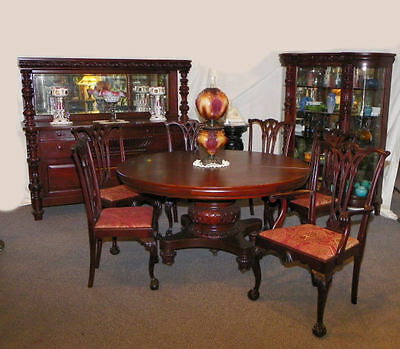 $12500 • Buy 9 Pc Matching Antique Mahogany Dining Room Set - Table Curio Sideboard 6 Chairs