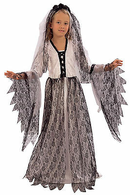 Girls Kids Childs Copse Ghost Zombie Bride Halloween Fancy Dress Costume 4-9 • 13.25£