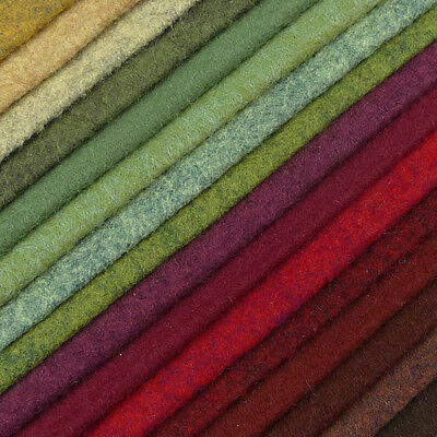 Woolfelt ~ 22cm X 90cm ~ Hedgerow / Wool Blend Felt Fabric Red Heathered Green  • 3.25£