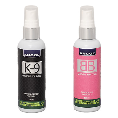 Ancol Dog Cologne K9 100ml & Ancol Dog Cologne Baby Powder Scent 100ml Pack • 15.99£