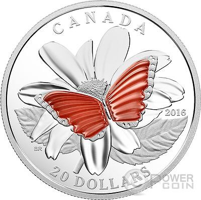 $179.95 • Buy BUTTERFLY COLOURFUL WINGS Translucent Agate Silver Coin 20$ Canada 2016
