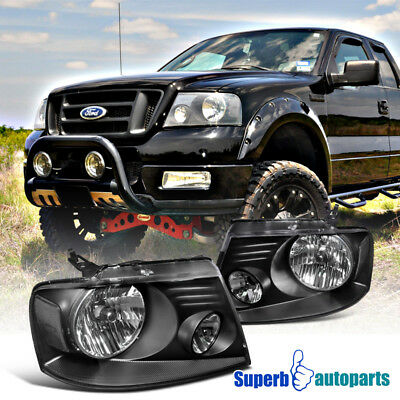 $90.98 • Buy For 2004-2008 04-08 Ford F150 Truck Headlights Black Head Lamps Pair Left+Right