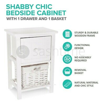 View Details 2 DRAWER SHABBY CHIC BEDSIDE CABINET TABLE WICKER BASKET STORAGE BATHROOM BEDROO • 25.95£