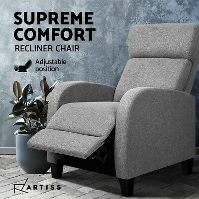 AU204.95 • Buy Artiss Recliner Chair Luxury Sofa Lounge Armchair Padded Linen Fabric Couch Grey