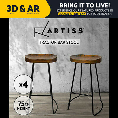 AU309.90 • Buy Artiss Vintage Tractor Bar Stools Retro Bar Stool Industrial Chairs Black 75cmX4
