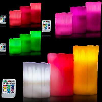 Drip Effect 3 Pack Remote Control LED Flameless Colour Changing Wax Mood Candles • 8.99£