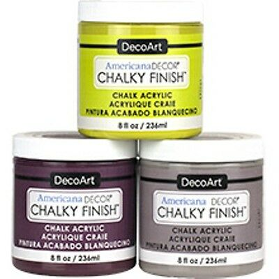 AMERICANA DECOART CHALKY FINISH PAINT - Acrylic Chalk Decor Matte Furniture 8OZ • 7.99£