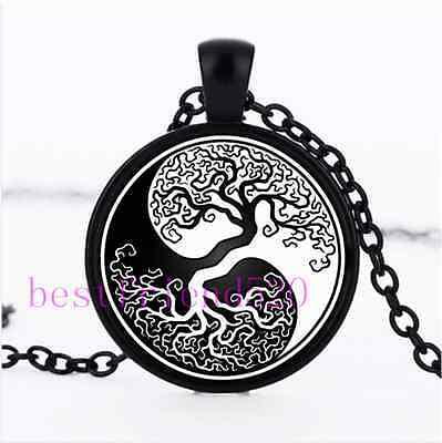 AU2.79 • Buy Ying Yang Tree Of Life Photo  Cabochon Glass Black Chain Pendant Necklace