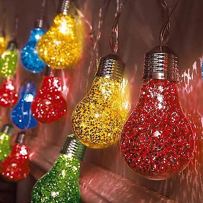 20 Multi Coloured LED Bulb Festoon Globe String Fairy Lights Indoor Outdoor • 8.95£